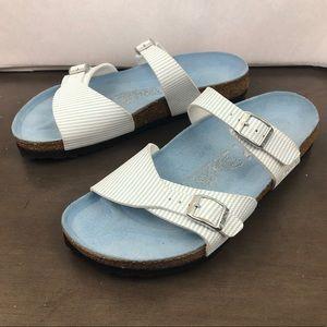 Birkenstock Blue White Stripe Birki's Sandals